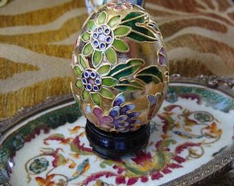 Cloisonne Egg Ornament, Egg Shape With Beautiful Flowers on Wood Base