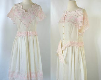 1960s/1970s Ivory and Pink Eyelet, Short Sleeve Cotton Summer Dress