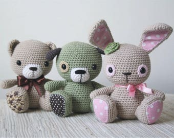PATTERN - Amigurumi cuties - bunny, puppy and teddy - crochet amigurumi pattern, PDF (English, Dutch)