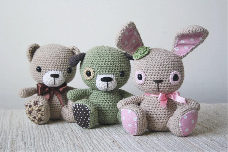 PATTERN Amigurumi cuties bunny puppy and teddy crochet
