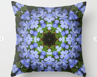 Plumbago blue floral kaleidoscope throw pillow, pillow cover,nmandala accent pillows, floral pillow cover home decor living room decor