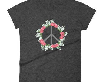 Peace Shirt, Peace sign shirt, peace t-shirt, boho t-shirt, boho shirt, boho gym shirt, floral shirt, women's peace shirt, groovy t-shirt