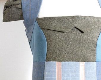 Size L/XL - Suit Patch Dress in Blue & Peach