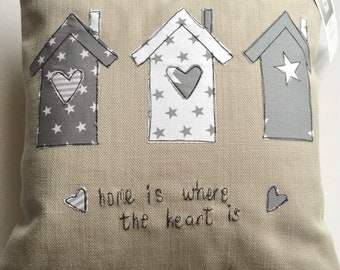 Home is where the heart is, appliqued cushion made in wales