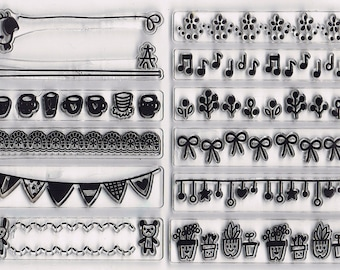 Small Mini Border Clear Cling Rubber Stamp Set