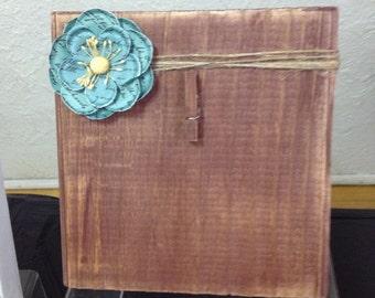 Cadre Photo bois rustique avec une ficelle, fleur & support Clip