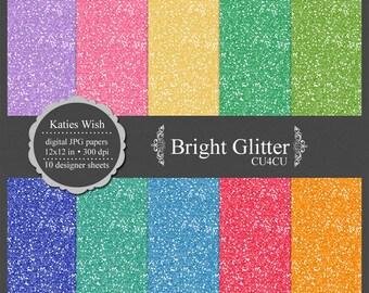 Bright Glitter digital papers kit, CU OK, instant download file for digital scrapbooking, pink, blue, purple