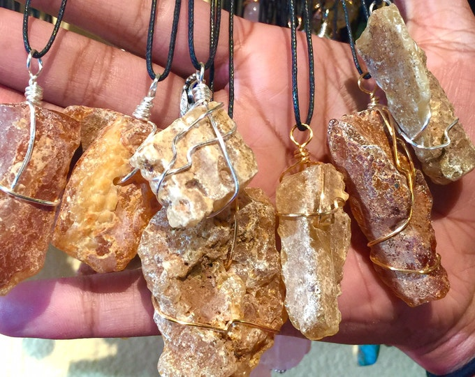 Raw Amber Crystal Necklace - Copper Wire Wrapped Amber Pendant Handmade - Love Potion Magickal Perfumerie