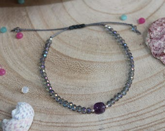 Amethyst and Crystal beads bracelet