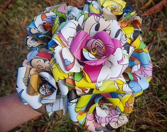 Mickey and Minnie Mouse Book Bouquet-Decor-Wedding-Bridal Bouquets-Book lover gift-Disney- Paper Flowers - Disney lover- Valentines