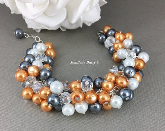 Pearl Cluster Bracelet Bridesmaid Gift Bridesmaid Bracelet Charcoal Dark Grey Bracelet Jewelry Gift for Her Maid of Honor Gift Wedding