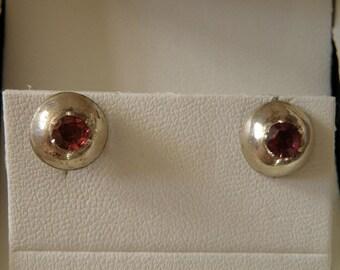 Sterling Silver Garnet Earrings - x ctw