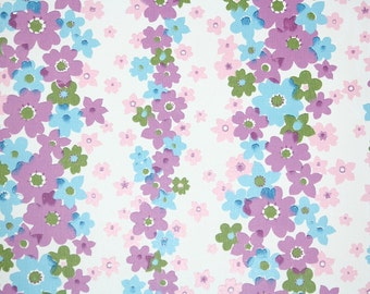 Retro Wallpaper by the Yard 70s Vintage Wallpaper - 1970s Blue and Purple Floral Stripe on White