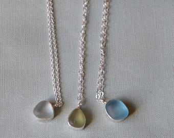 Small Silver Bezel Genuine Sea Glass Pendant
