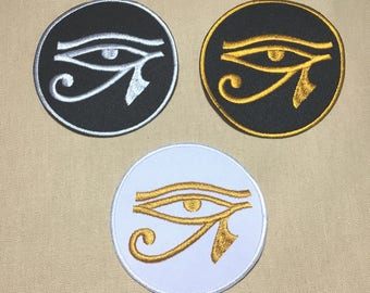 Custom Eye of Horus  Egyptian Hieroglyphic Embroidered Iron On Patch , Size 2.8 (inches).
