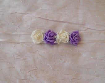 Ribbon flower purple and white wedding set