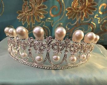 FINAL STOCK, Silver Pearl TIARA, reproduction Lover's Knot, faux pearl tiara, New, lovely glowing teardrop pearl tiara