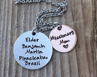 custom Hand stamped missionary mom necklace personalized necklace gift for mom jewelry
