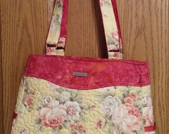 Shabby Chic Quilted Purse, Pinks and Yellows