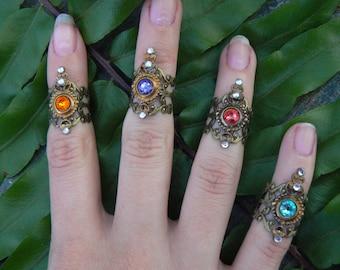 Swarovski midi ring  knuckle ring CHOOSE ONE armor ring nail ring claw ring  tip ring  vampire goth victorian moon goddess pagan boho gypsy