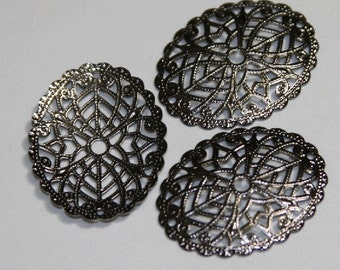 12 pcs of Gunmetal plated over brass  filigree oval 29x23mm