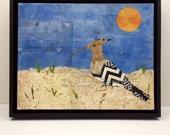 Framed , Original, Bird Artwork, Nature Inspired, Canvas Painting, Boho Bird, Home Decor, Mixed Media, Hoopoe
