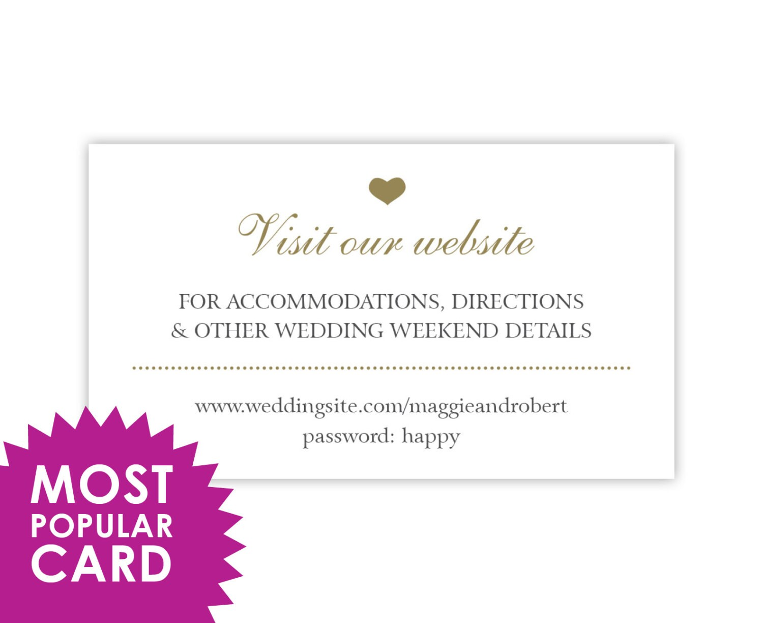 How Many Gifts To Register For Wedding: Wedding Website Cards Enclosure Cards Wedding Hashtag Cards