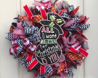 Christmas Wreath, Christmas Mesh Wreath, Snowman Wreath, Red and Black Wreath, Christmas Door Wreath, Christmas Decor, Snowman Mesh Wreath