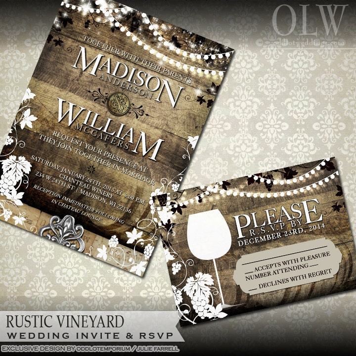Rustic Vineyard Wedding Invitation and RSVP Vineyard Wedding