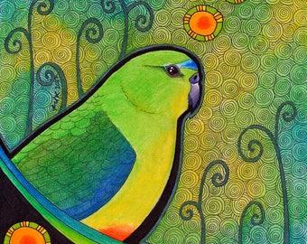 Orange Bellied Parrot as Totem - Original Art