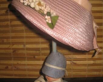 Lovely Old Store Stock Easter Bonnet, Child's Hat, Wedding, Shower, Pink