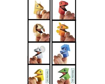 Paper Finger puppet Fingerjaws set of 2-Dinosaur and Pets