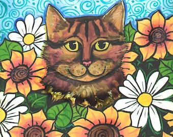 Tabby Calico Cat  Sunflowers Daisies PRINT Shelagh Duffett
