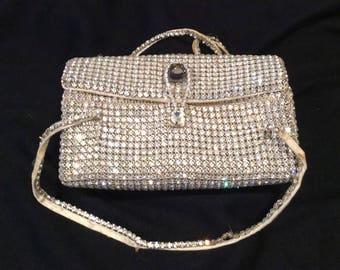 Vintage Delill Clutch Evening Bag, Crystals, White, 1950-60s