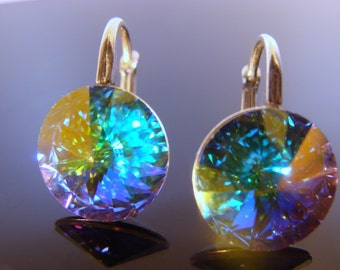 Sterling Silver Swarovski Crystal AB 10 mm Leverback Rivoli Earrings