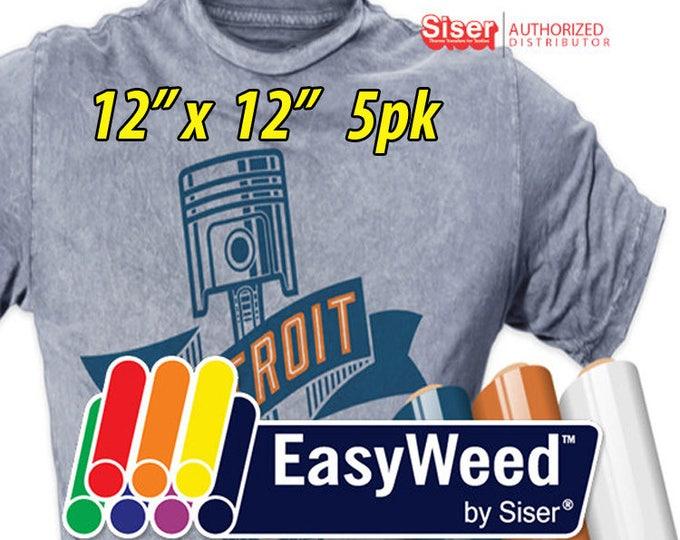 """12"""" * x 12"""" / 5-pk  Siser EasyWeed HTV - Heat Transfer Vinyl"""