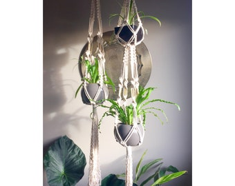 ELSA Single Double Macramé Plant Hangers//Choose One or Both Single Double Chunky Natural White Boho Hippie Retro 70s Plants Brass Vintage