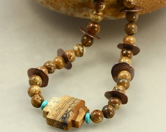 Picture Jasper Necklace with Jasper Cross and Turquoise, Southwestern Necklace, Cross Necklace, Brown Necklace, Tribal Necklace