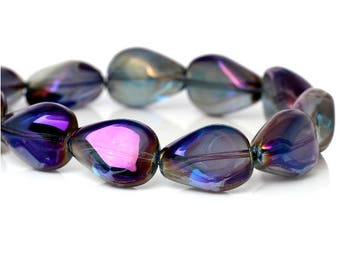 set of 4 glass beads drops purple 18 mm x 14 mm