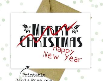 Late christmas card/ Funny printable card/ New years card/ Hilarious printable card/ Funny gag gift/ Funny christmas card/ Oops card