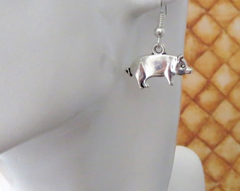 Pig Earrings, Hypoallergenic Surgical Steel or Silver Plated Ear Wires - Heeeeere Piggy, Piggy, Piggy -  Piglet Dangle Earrings
