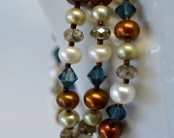 Freshwater Pearl Necklace with Navy Blue, Ivory, Chocolate Brown, Sapphire and Pistachio Pearls from North Atlantic Art Studio in Maine