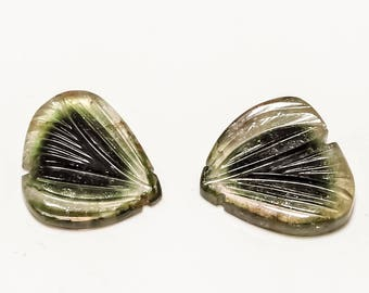 RARE GREEN TOURMALINE gemstone,carved tourmaline,handmade gemstone, gemstone pair,real and antique gemstone