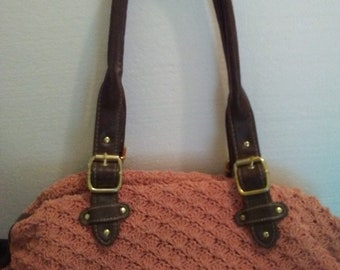 Vintage Crochet Handbag Mango and Leather Ready to Ship Free Shipping in USA