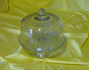 Princess House Fantasia Glass Cake Plate with Dome and Punch Bowl // 2-in-1