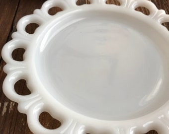 Vintage milk glass plate with lace trim