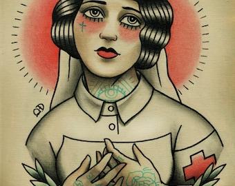 Nurse Flapper Traditional Tattoo Flash