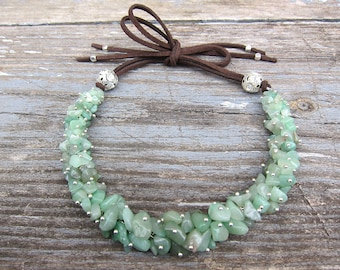 Jade necklace Gemstone Necklace Aventurine necklaces Bohemian jade necklace jewelry Mint necklace nephrite healing jewelry