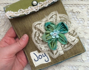 Joy- Shabby Victorian Pocket Envelope Pouch Bag - Handmade by The Clever Cottage
