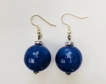 Blue ceramic bead earrings